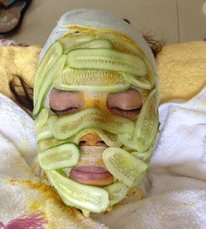 cucumber mask Wetmore CO esthetics client